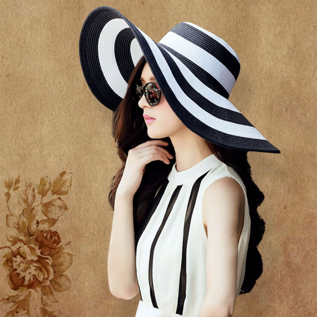 Wide Brim Stripe Printed Women Ladies Summer Round Flat Top Straw Beach Hat