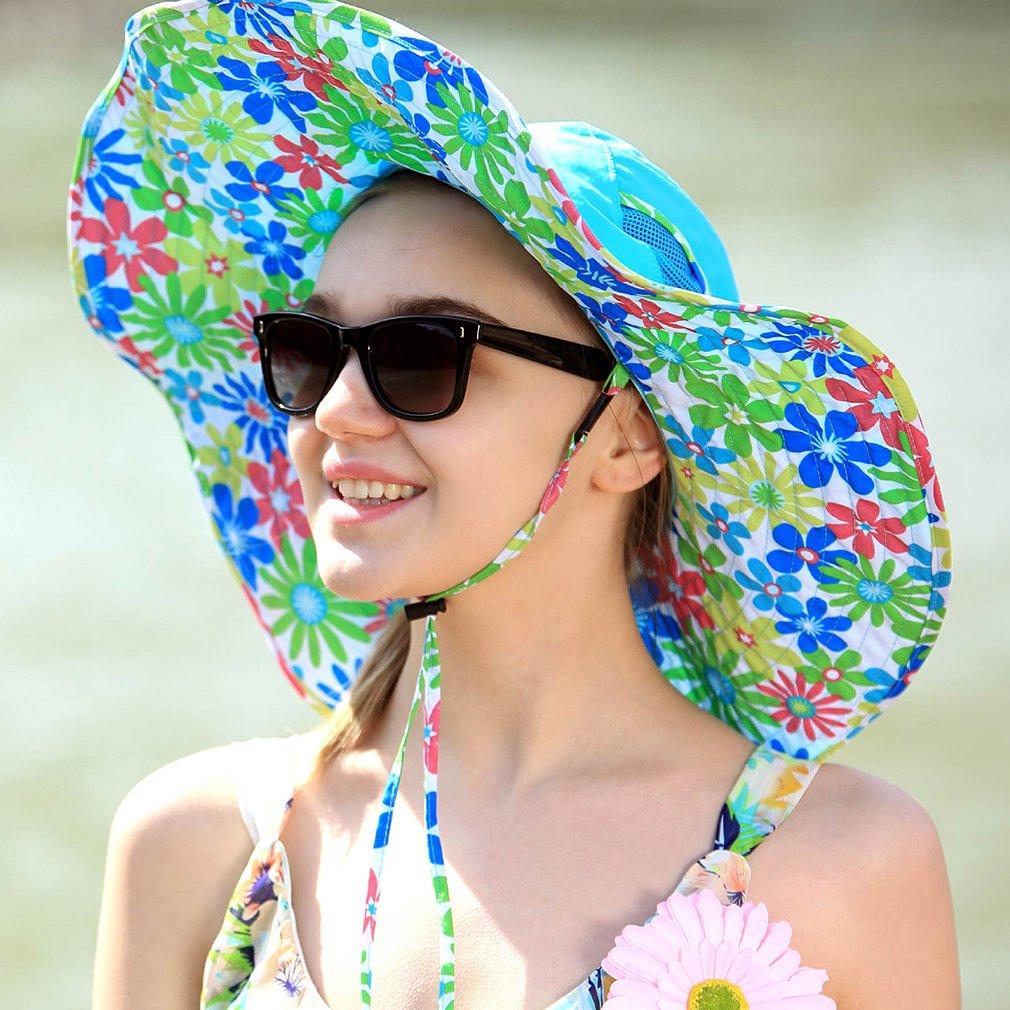 UV Protective Floppy Hat Fashion Outdoor Hiking Wide Brim Neck Cap Santo