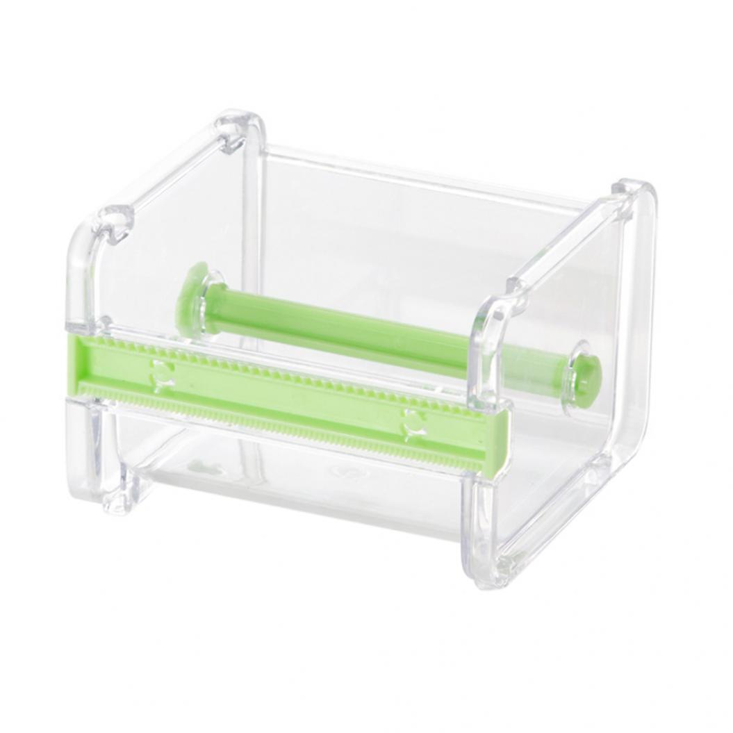 Office Stationery Adhesive Tape Holder Cutter Storage Box Organizer Dispenser