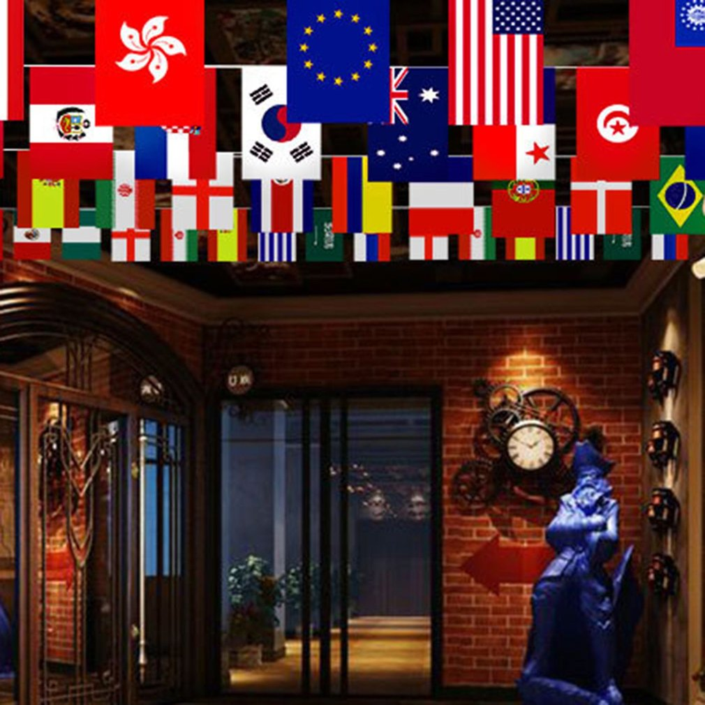 Fashionable Double Sided String Flags 2018 World Cup Team National Flag Hanging String Flag For Shop Home Decoration