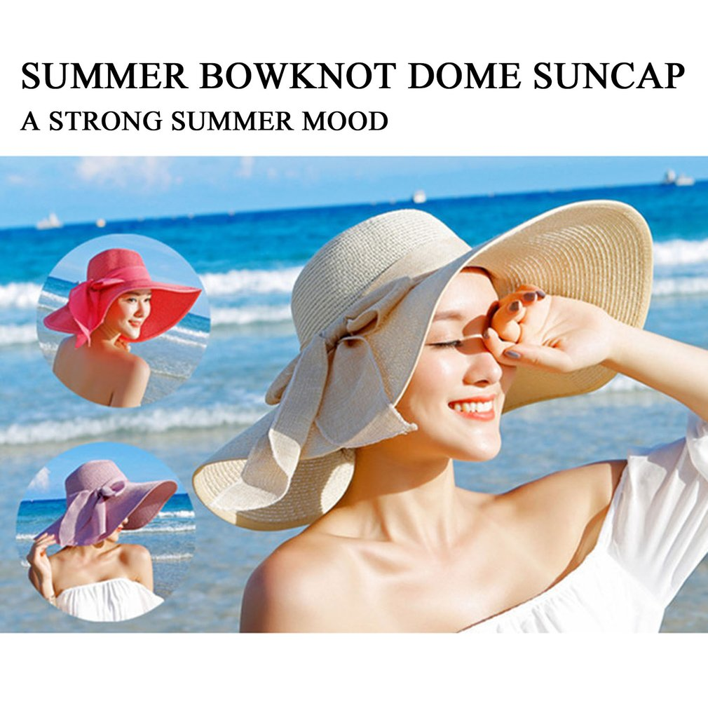 Women's  Top Straw Beach Hat with Bow knot