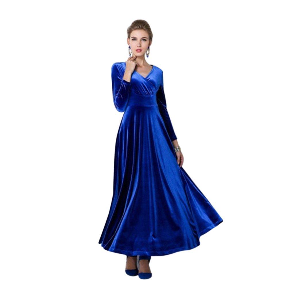 Fashion Women Dress Long Sleeve V-neck Velvet Solid Color Long Draped Dress