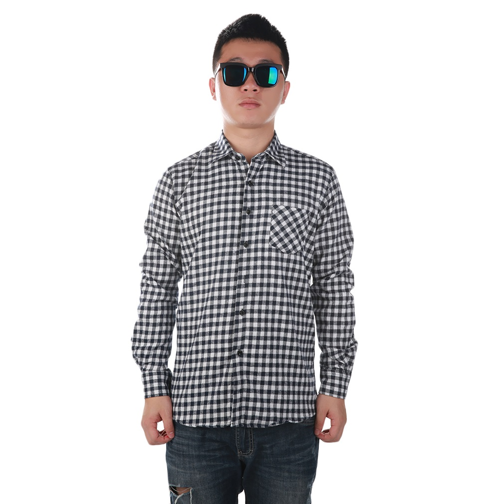 Fashion Mens Button Plaid Shirt Long Sleeve Flannel Plaid Casual Shirt DMM17