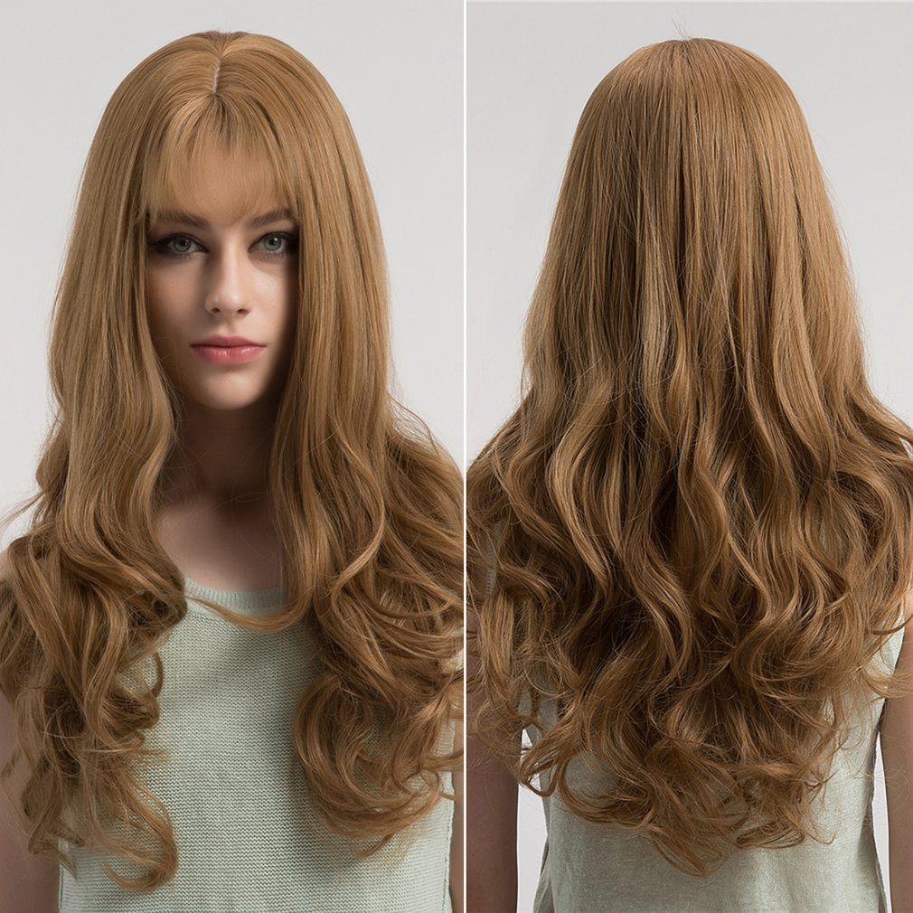 WIG365 Women Gold Front Wig Synthetic Heat Resistant Fiber Long Wavy Wig
