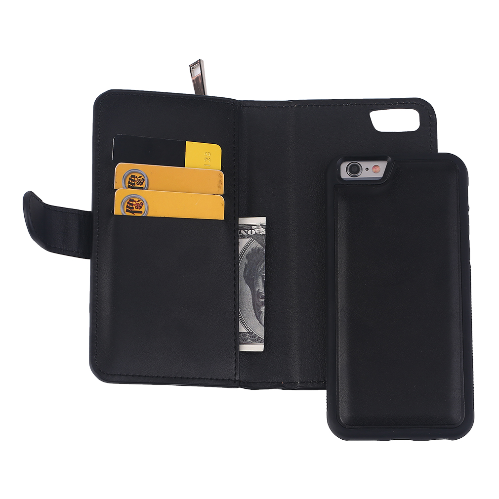 Lightweight PU Leather Solid Color Wallet Type Phone Cover Suitable For iPhone