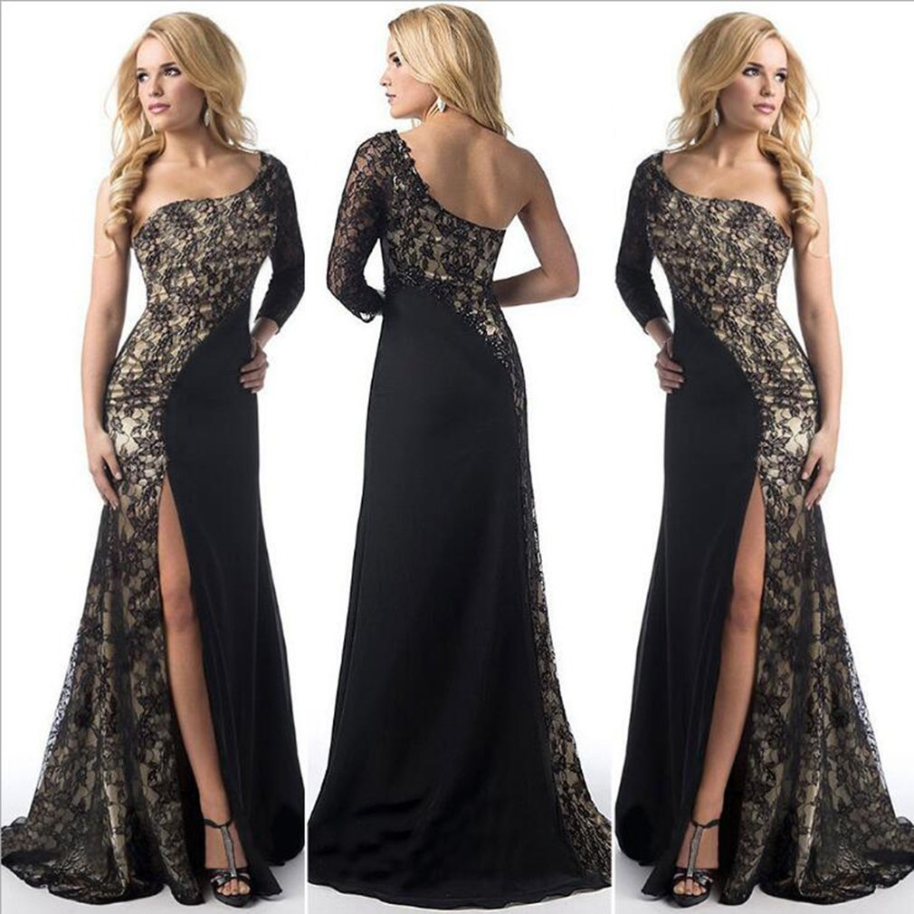 Open Dress with Lace Stitching Evening Party Club Dresses Slit to the Thigh for Spring Autumn for Female
