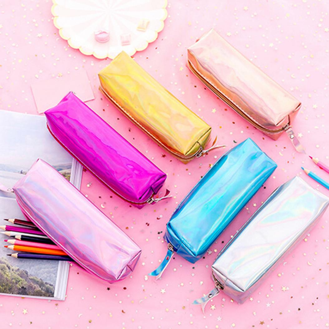 Reflective Laser Pencil Box Pen Case Stationery Zipper Bag Storage Organizer