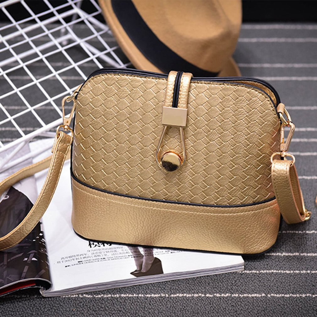 Autumn Fashionable PU Leather Knitted Women Single Shoulder Bag Shell Bag