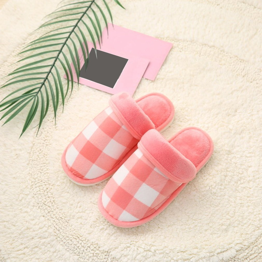 Plaid Soft Plush Anti-skid Slippers Winter Warm Comfortable Woman Man Shoes