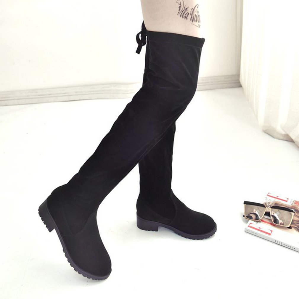 Fashion Knee High Boots Over The Knee Boots Middle Heel Women Boots Lace Up