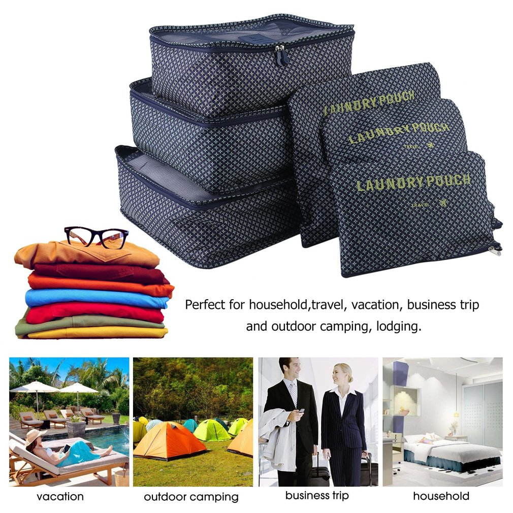 6Pcs Set Travel Bag Household Clothing Makeup Packing Toiletry Storage Box