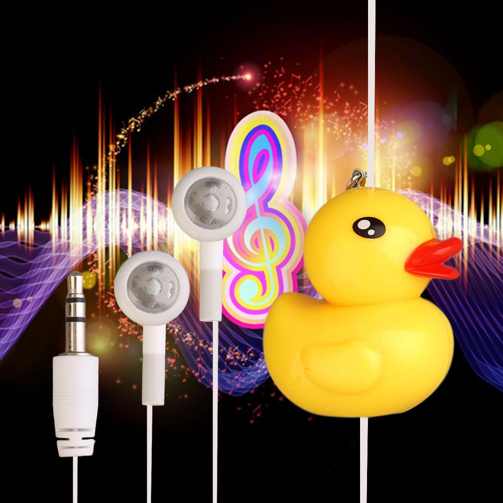 New Cute Cartoon Yellow Duck Earphones In-Ear Wired 3.5mm Earphone Headset