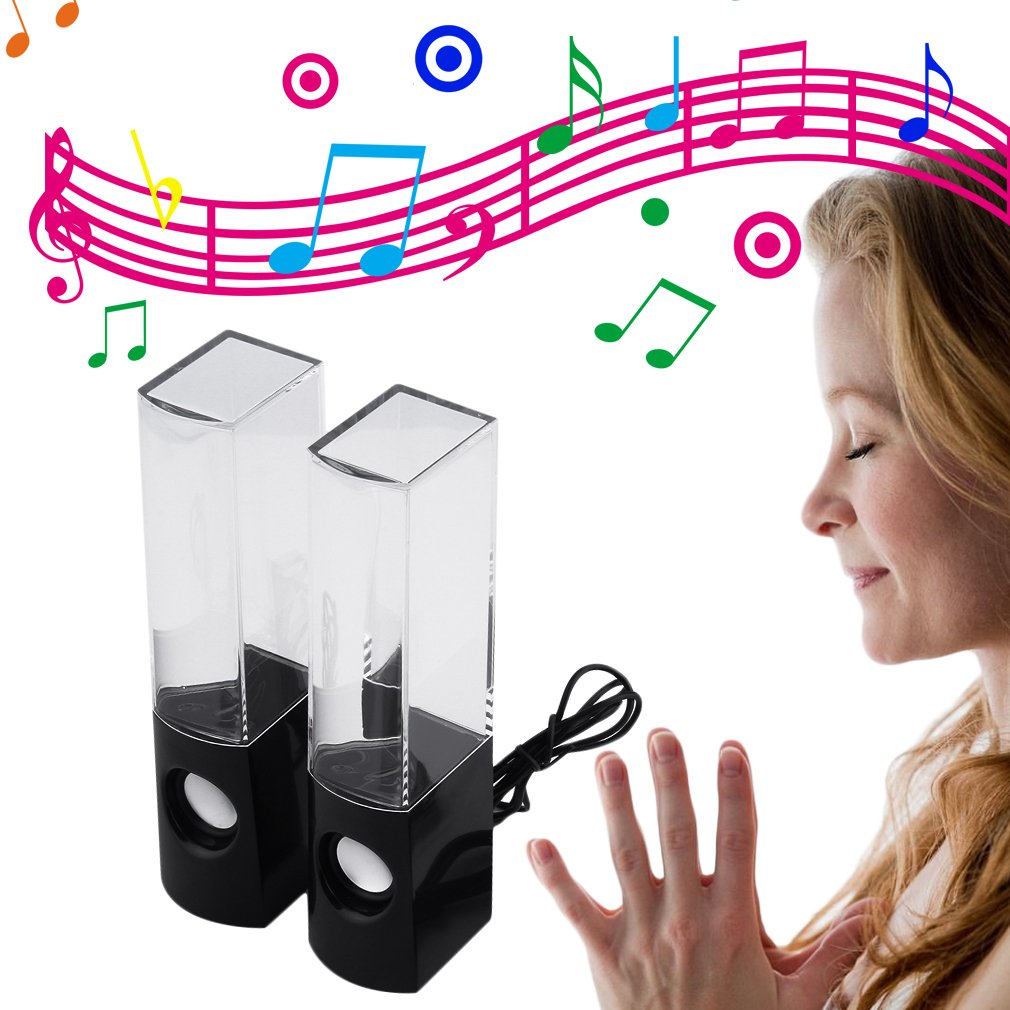 USB Water Dancing Fountain Stereo Music Speakers for PC Laptops Tablets