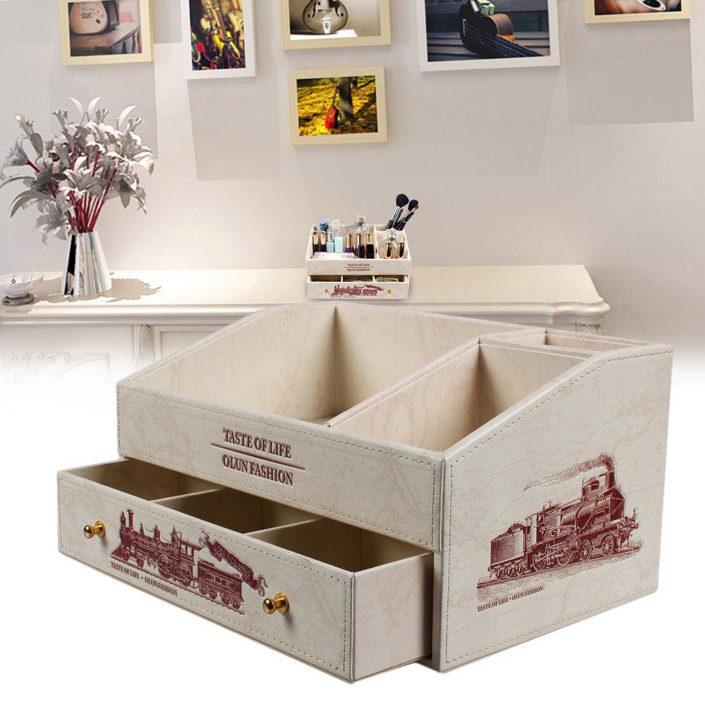 PU Leather Organizer Cosmetic Storage Stand Accessories Desktop Storage Box