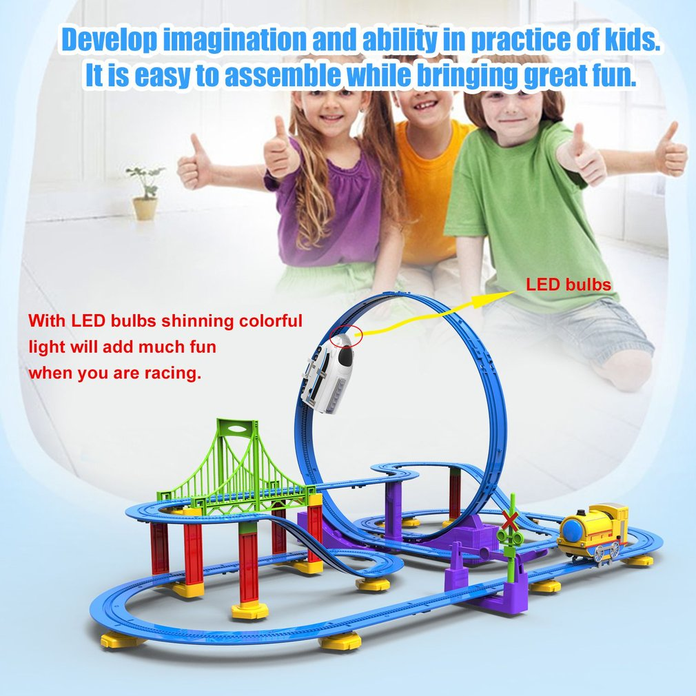 Children Paradise Track Toy DIY Assemble 3D Electric Track With Light Cartoon Colorful Track Gift for Boys And Girls