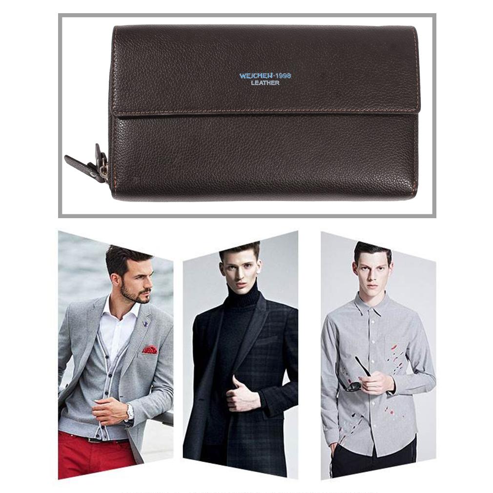 WEICHEN HP94410-3-3W Men Long Wallet PU Leather Luxury Business Men Wallet