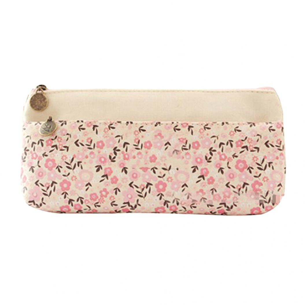 Fashion Women Floral Printed Dual Zip Pencil Case Pen Storage Bag Stationary