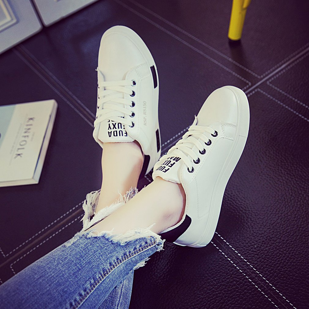 Women Flats Soft Leather Shoes Lace-up Round Toe Shoes Breathable For Students