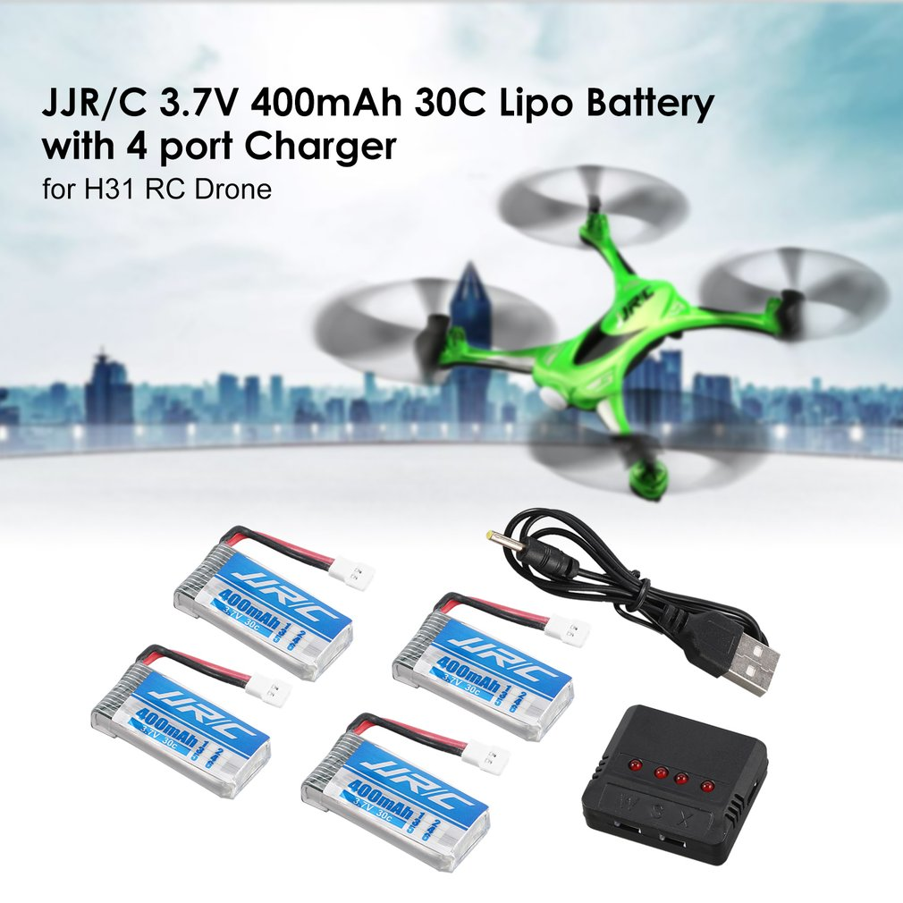 Original 4Pcs JJR/C 3.7V 400mAh 30C Lipo Battery with 4 in 1 Charger for JJR/C H31 H98 GoolRC T6 RC Quadcopter Drone