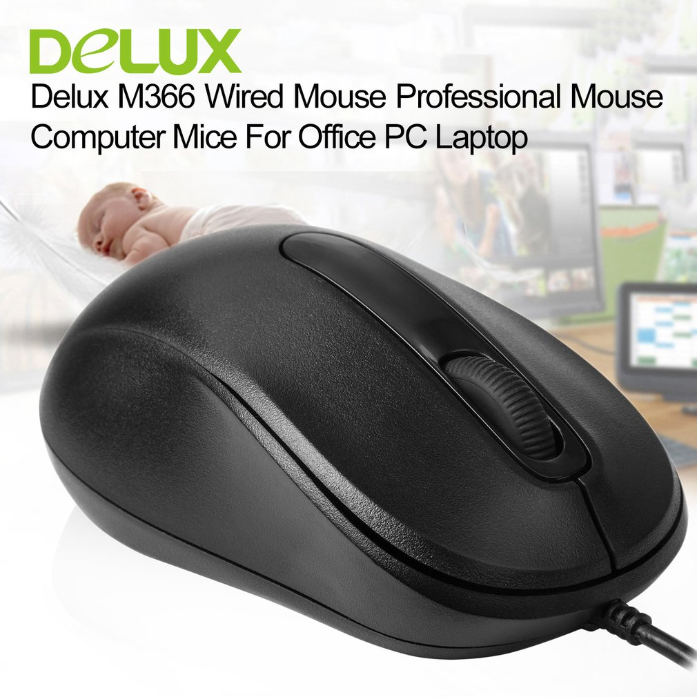 Delux Quick Click Wired Mouse M109 Optical USB Mouse Standard Computer Mice