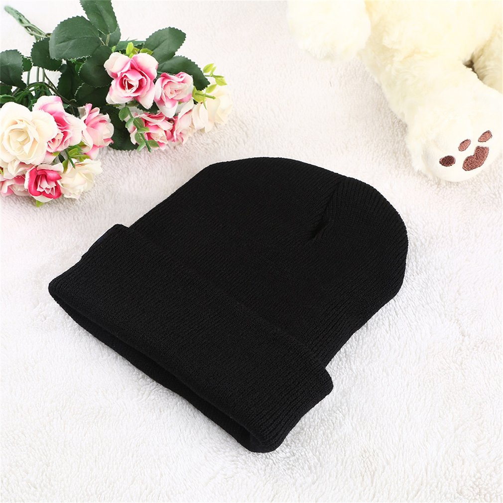 KLV Unisex Casual Cartoon Facial Expression Beanie Knitted Hat Rolled Cuff