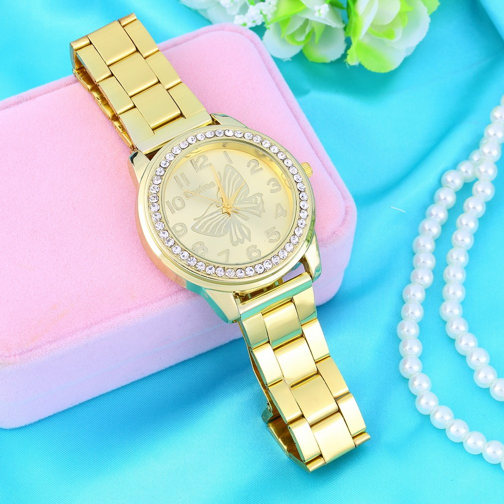Modern Steel Band Big Round Dial Crystal Rhinestone Casual Dressy Wrist Watch