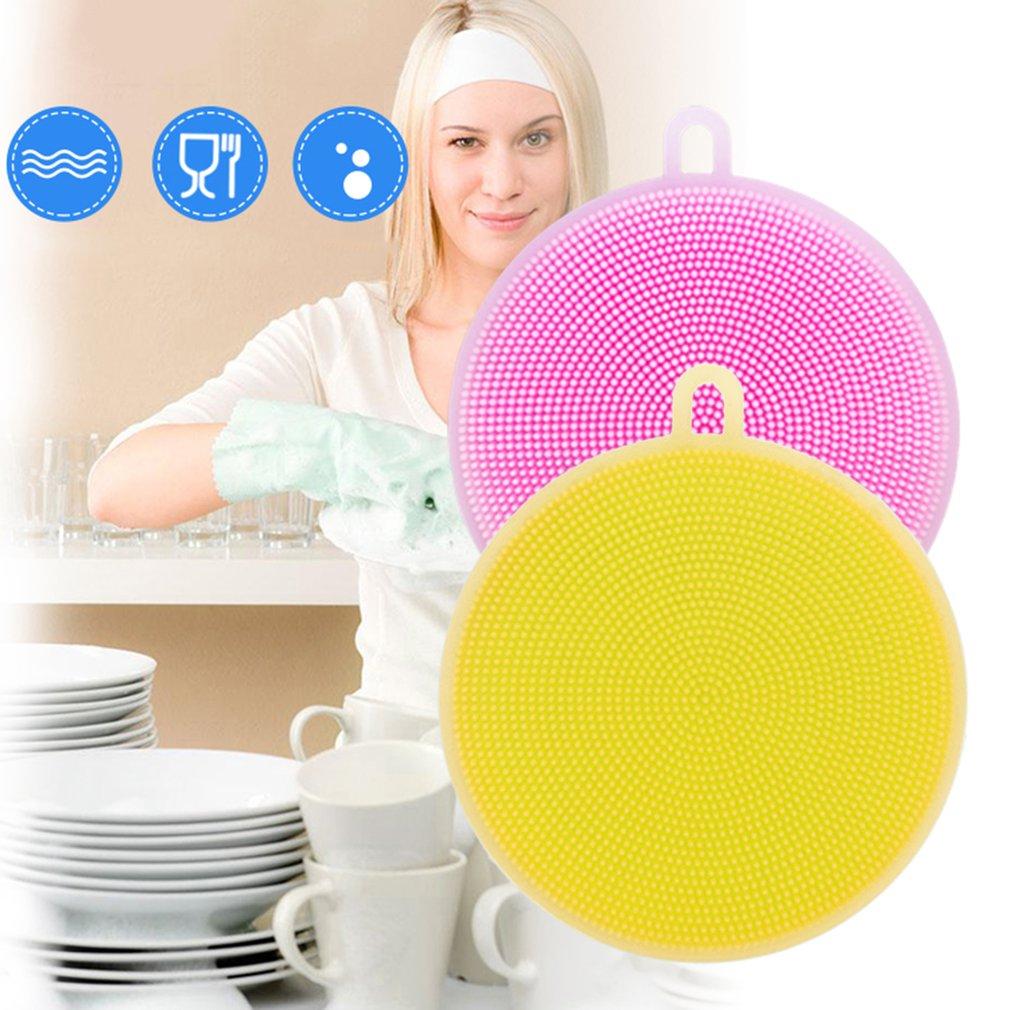 Multifunction Food Grade Silicone Round Shape Dish Washing Brush Cleaning Tool
