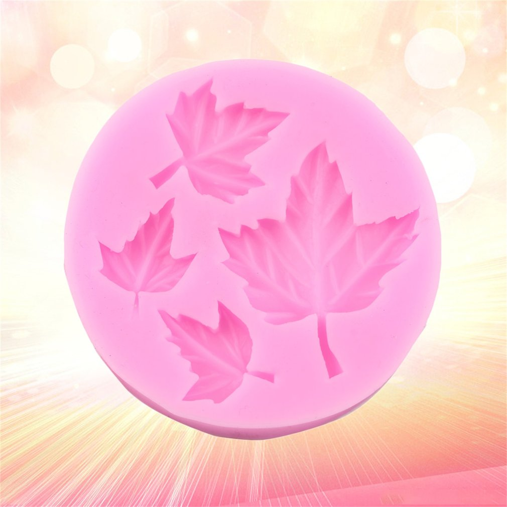 Pink Four Leaves Fondant Chocolate Candy Molds Cake Tools Mould Silicone