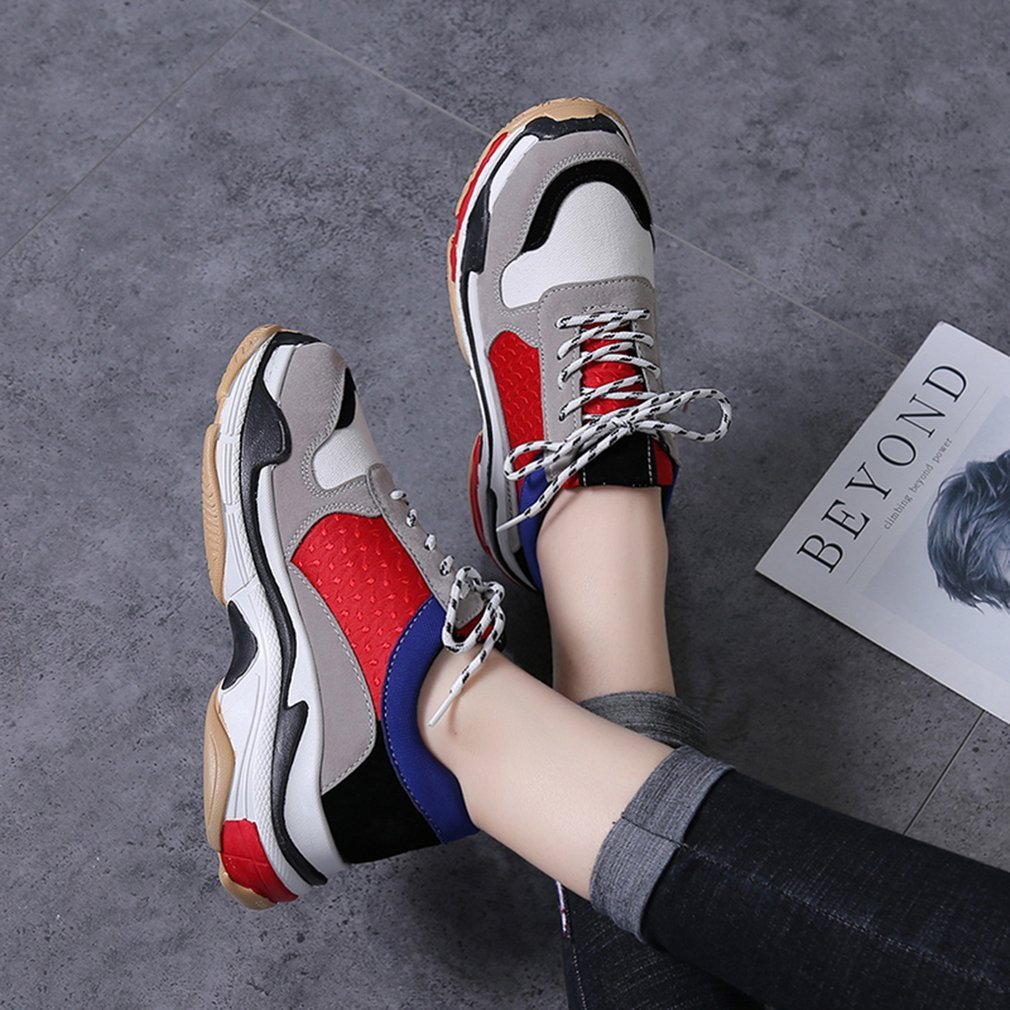 Spring Women Running Shoes Casual Lace up Ladies Breathable Sneakers Thick Bottom Shock Absorption Sport Training Shoes