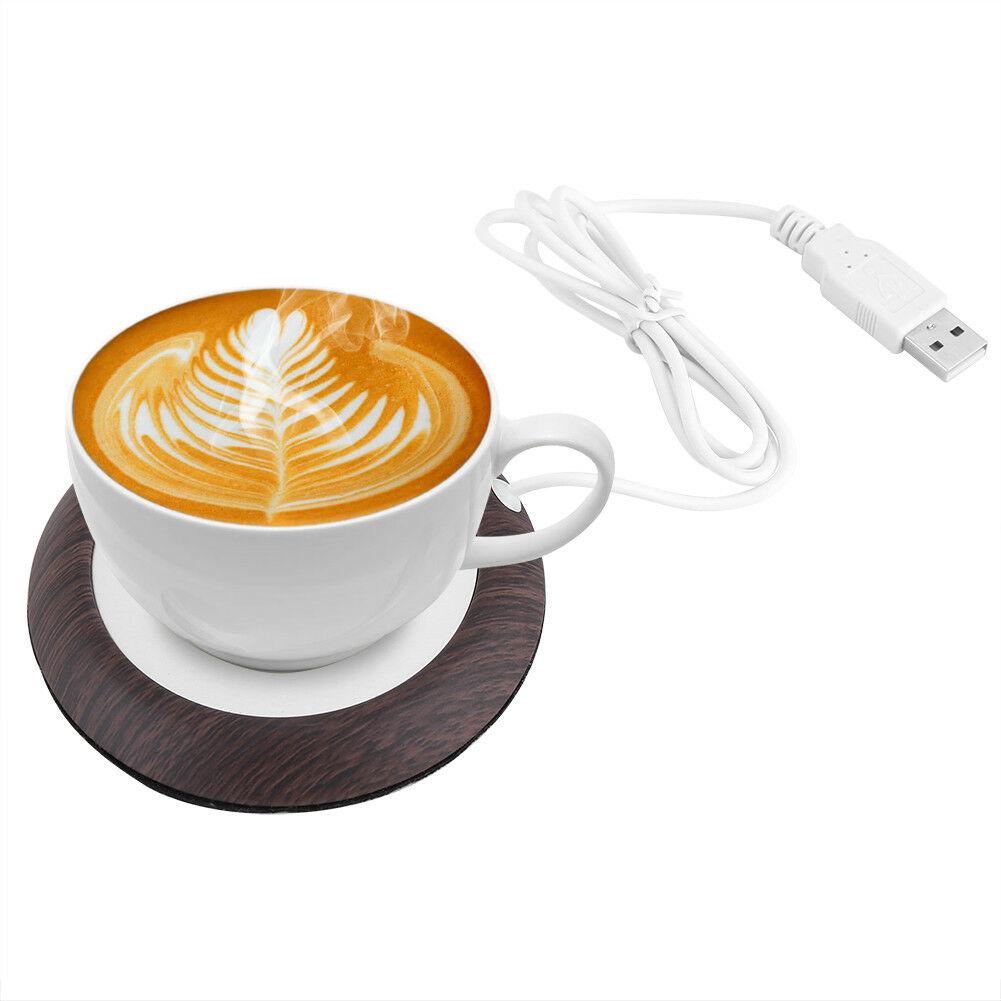 New USB Wood Grain Cup Warmer Heat Beverage Mug Mat Office Tea Coffee Heater Pad