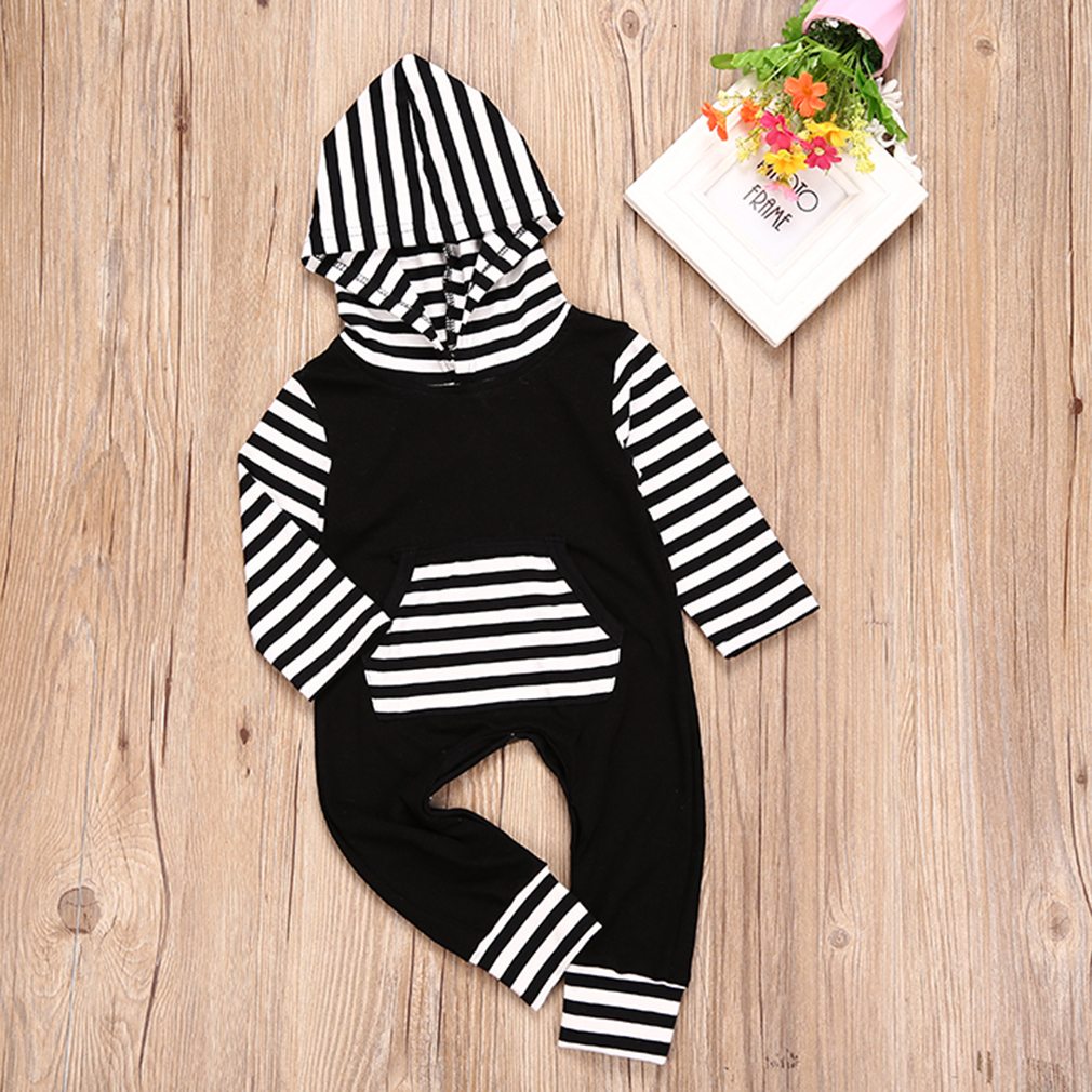 Autumn Adorable Infant Black and White Rompers Long-Sleeved Jumpsuit Clothes