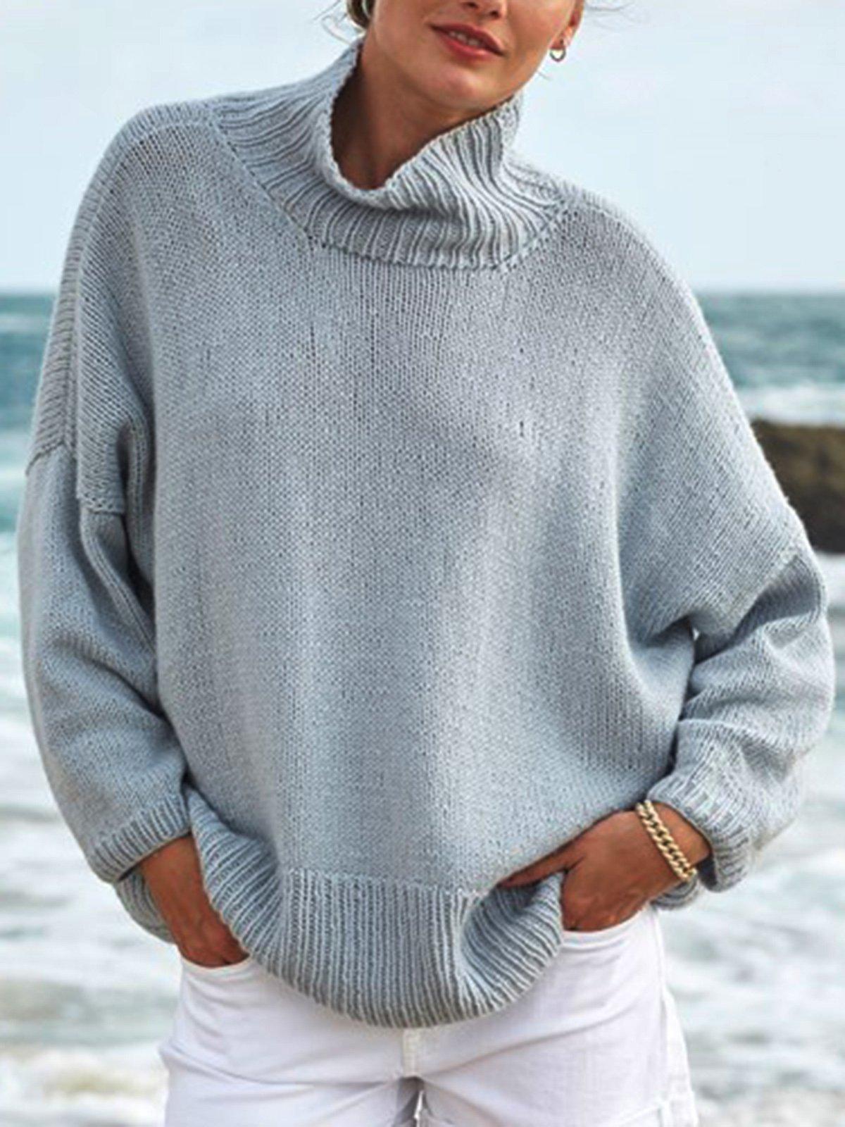 Lightblue Plain Cotton-Blend Casual Sweater