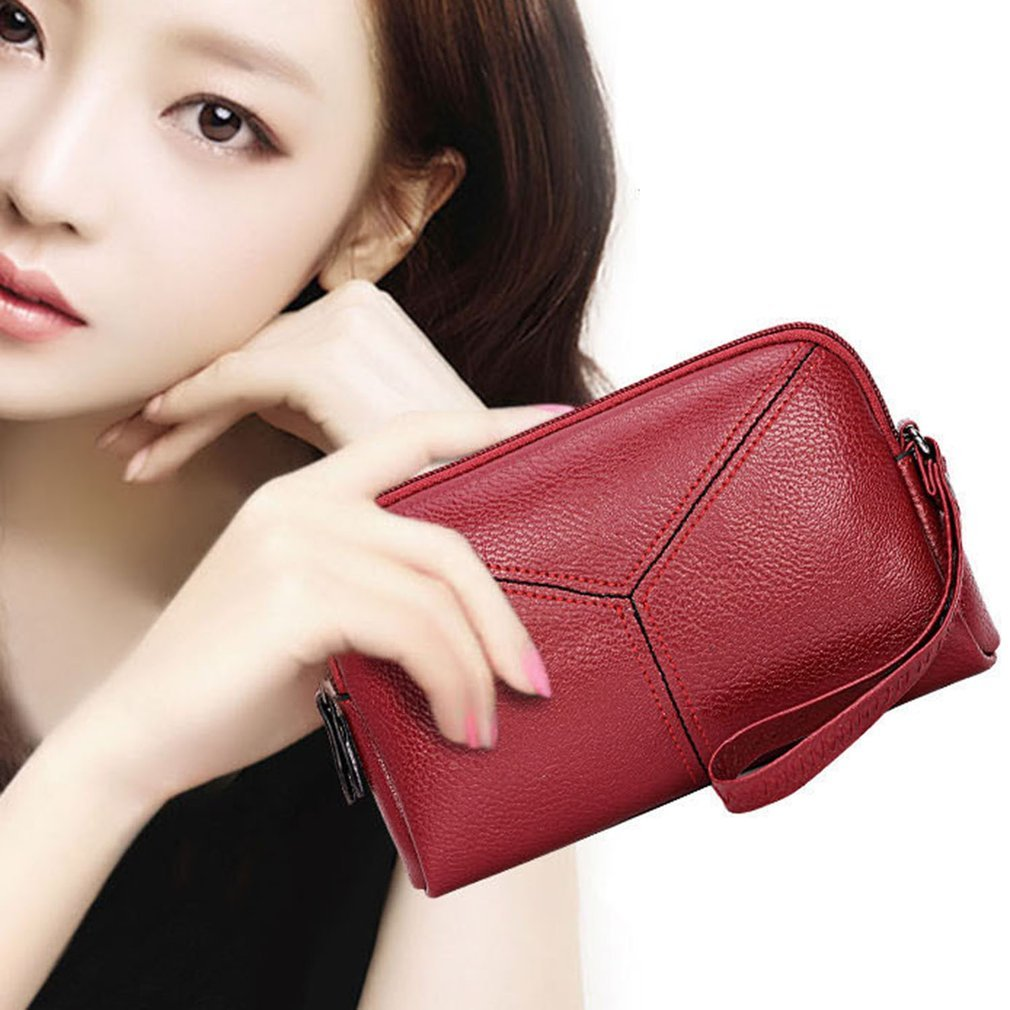 Elegant Style Solid Color Woman Lady Girls Simple Smooth PU Leather Small Clutch Handbag Wallet Purse Zipper With Wrist Strap