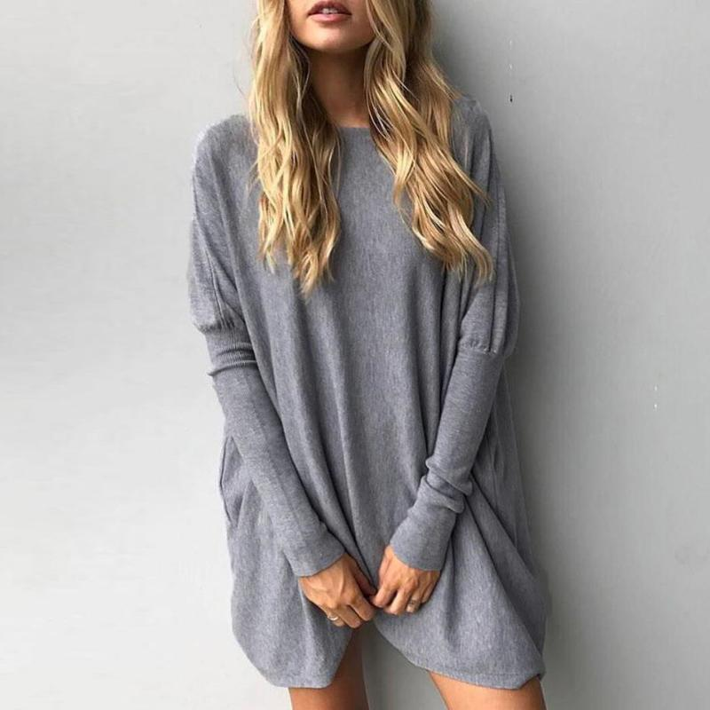 European and American round collar long-sleeve loose T-shirt