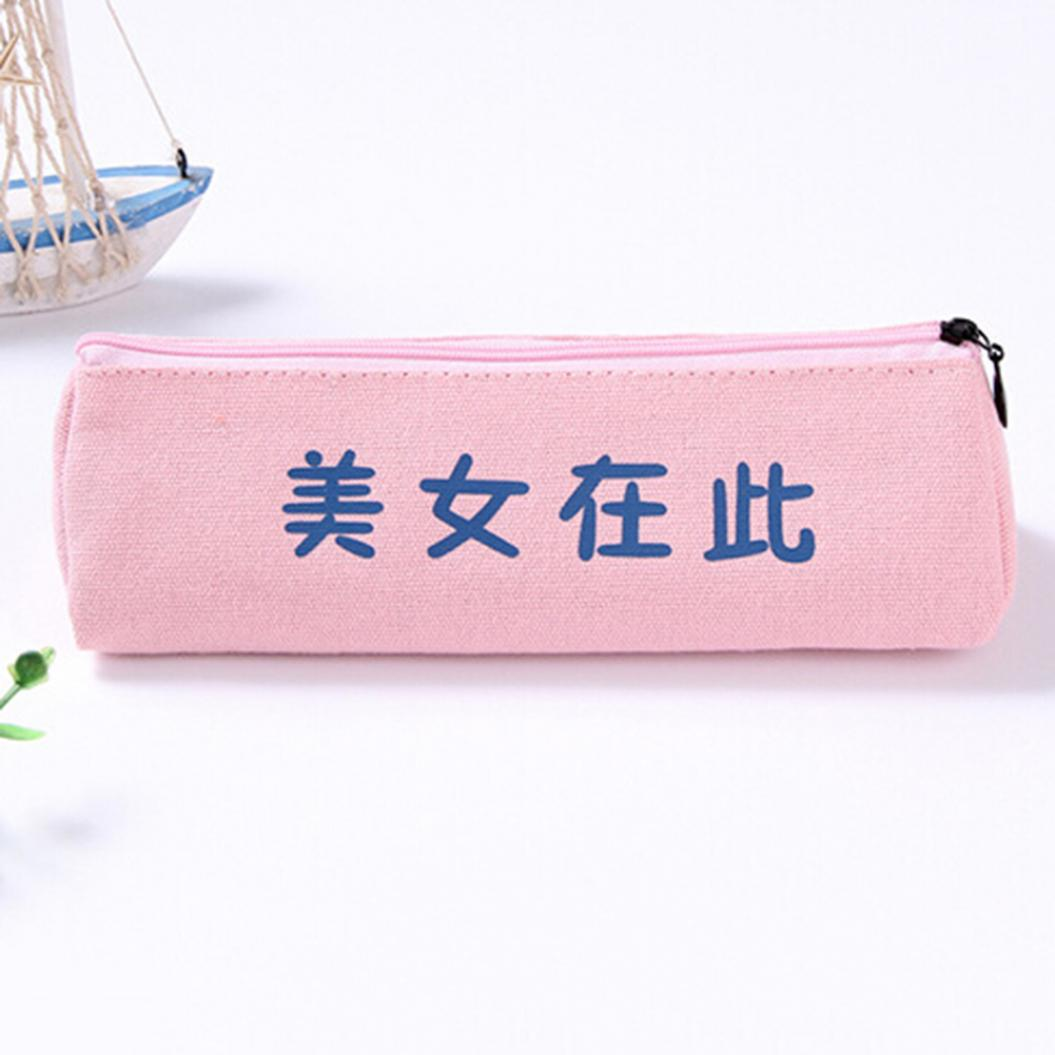Portable Triangle Zipper Canvas Student Stationery Pen Storage Bag Pencil Case