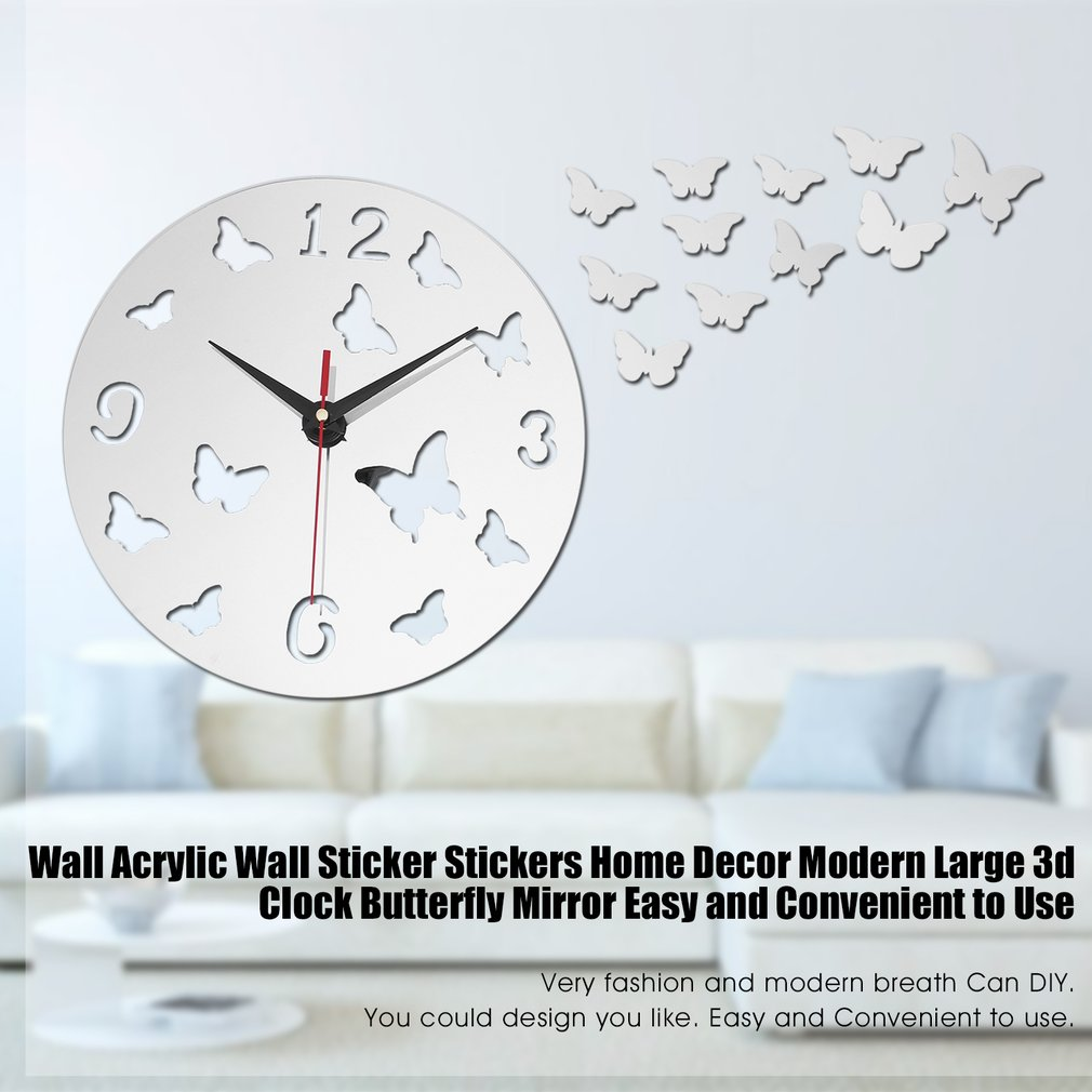DIY Stereo Workable Clocks Removable Butterfly Wall Sticker Art Mural Home Decor