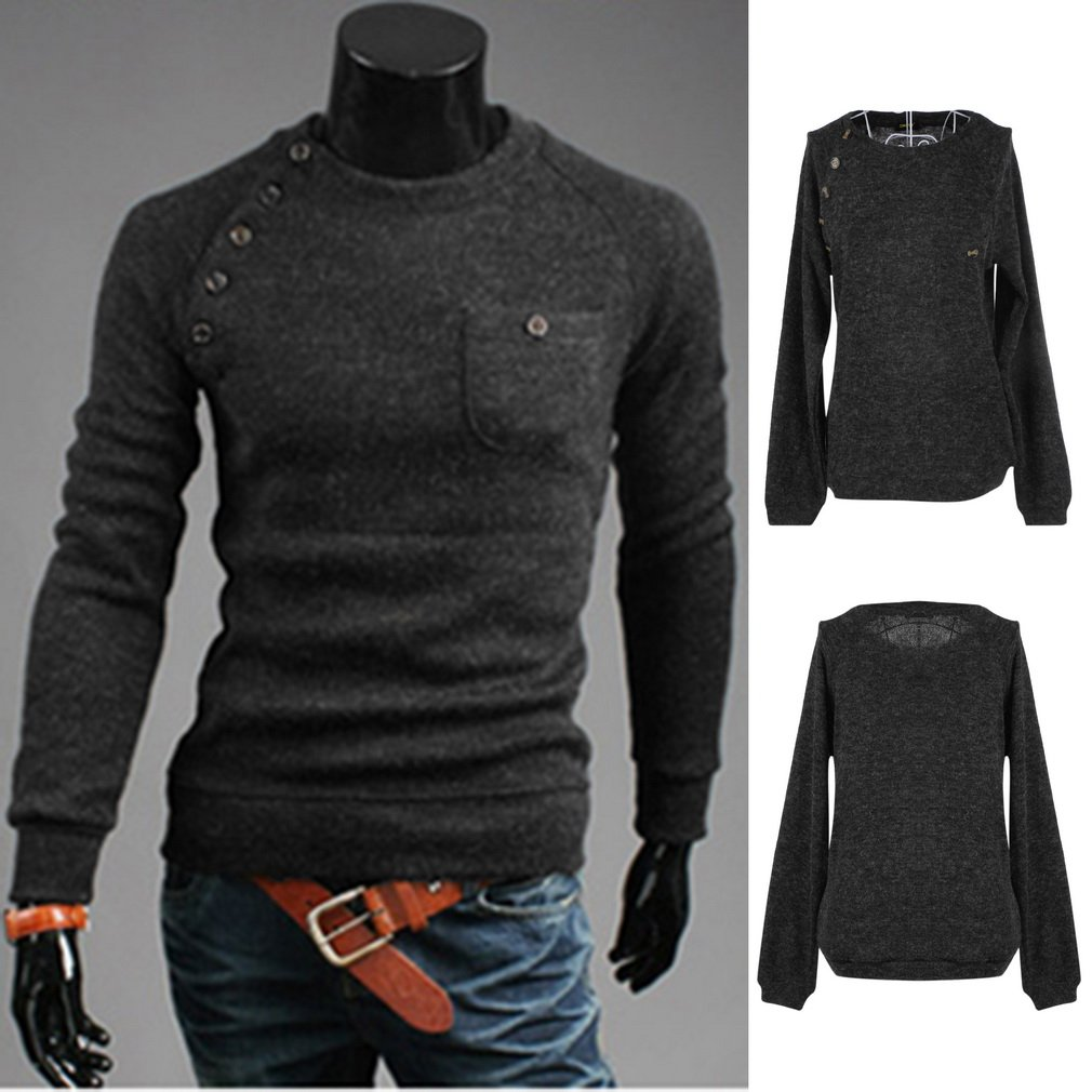 New Stylish Men's Warm Casual Slim Long-sleeved Sweater O-Neck Pullover