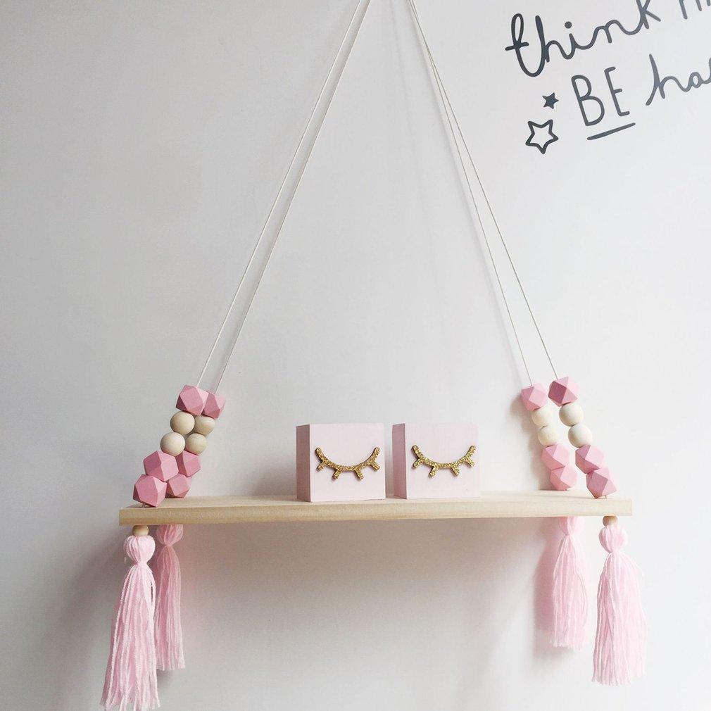 Bedroom Wall Shelf DIY Original Wood Beads Storage Shelf Organization Hanging Swing Shelf Home Room Wall Decoration