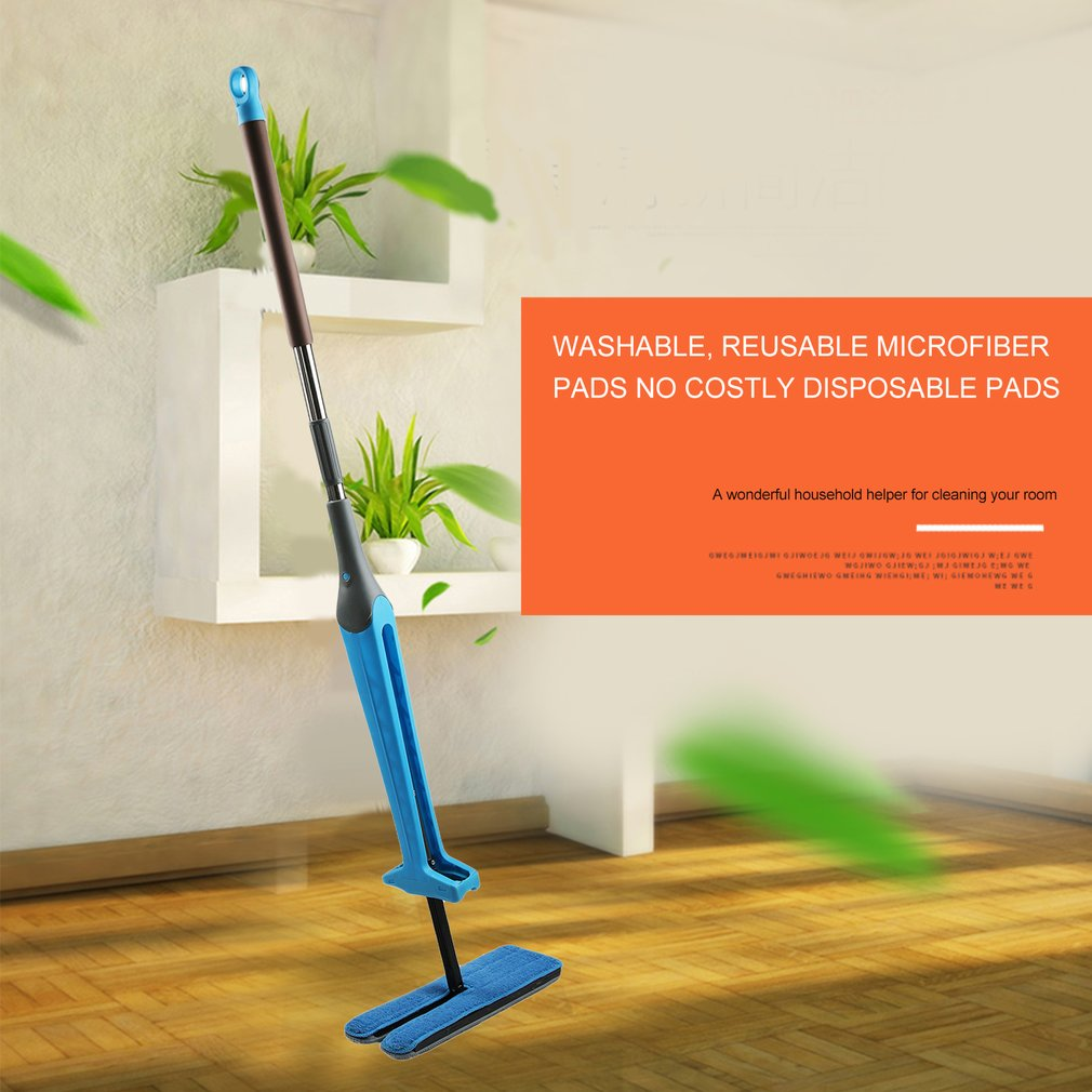 Self-Wringing Double Sided Flat Mop Lengthen Handle Household Cleaning Tool
