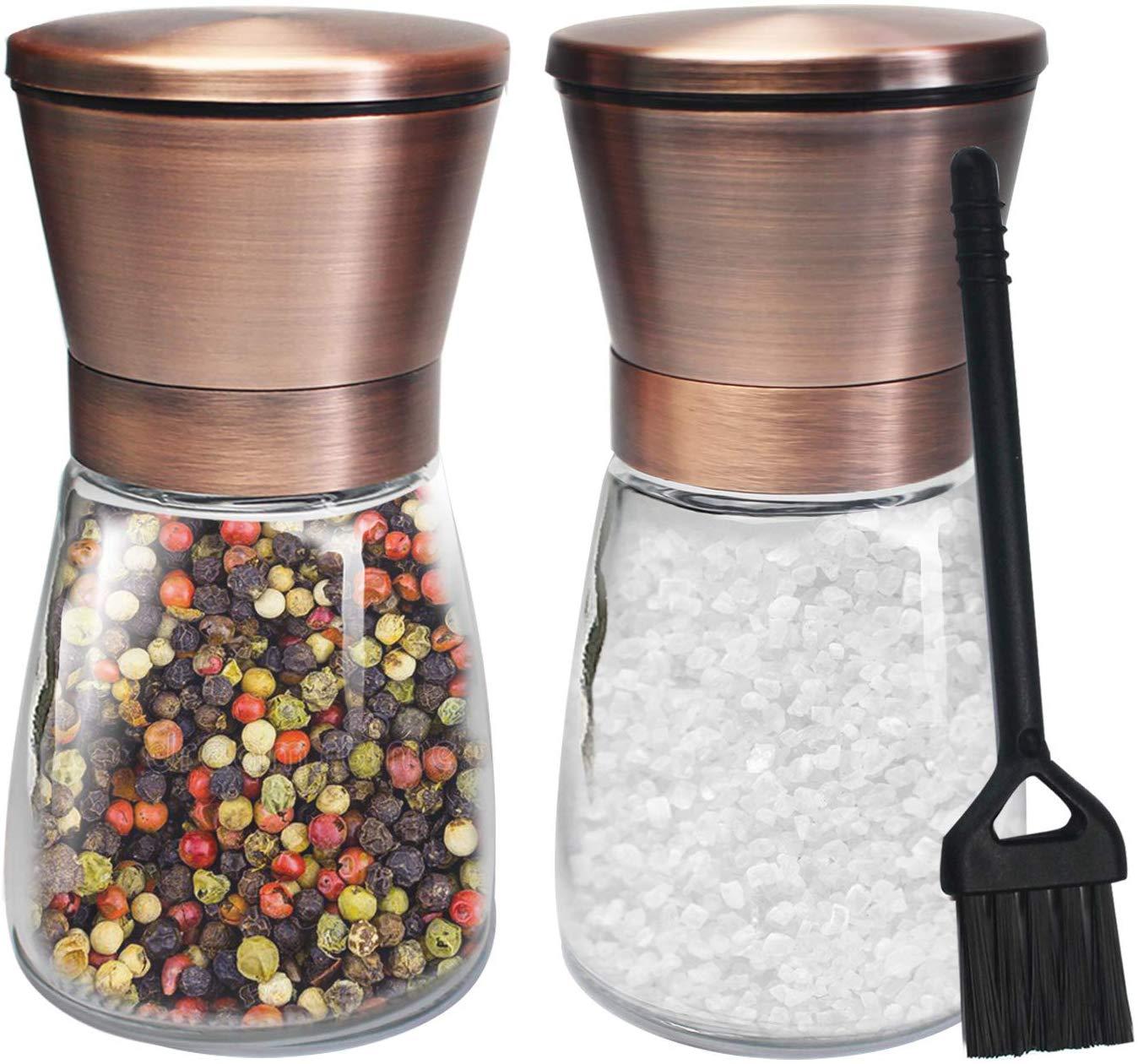 Copper Salt and Pepper Grinder Set of 2 Stainless Steel Salt and Pepper Shakers with Adjustable Ceramic Coarseness Salt Grinders and Pepper Mill Shaker Spice Grinder Mill Set with Free Cleaning Brush