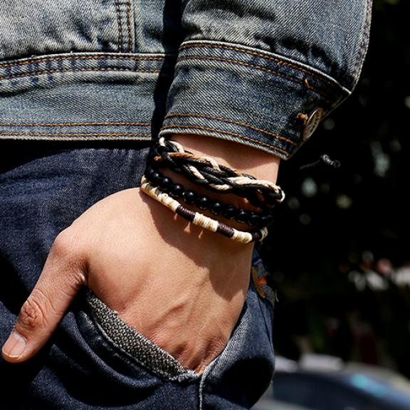 Men's 3 Pcs Punk Style Wood Beads Knitted Leather Bangle Wax Rope Cuff Bracelets