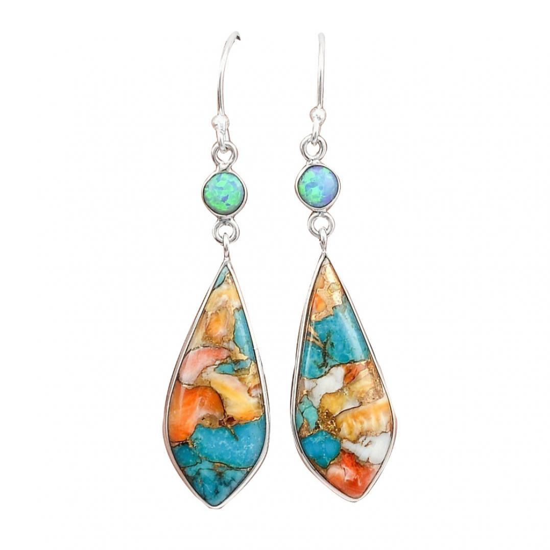 Vintage Women Jewelry Faux Turquoise Rhinestone Dangle Ear Hook Drop Earrings
