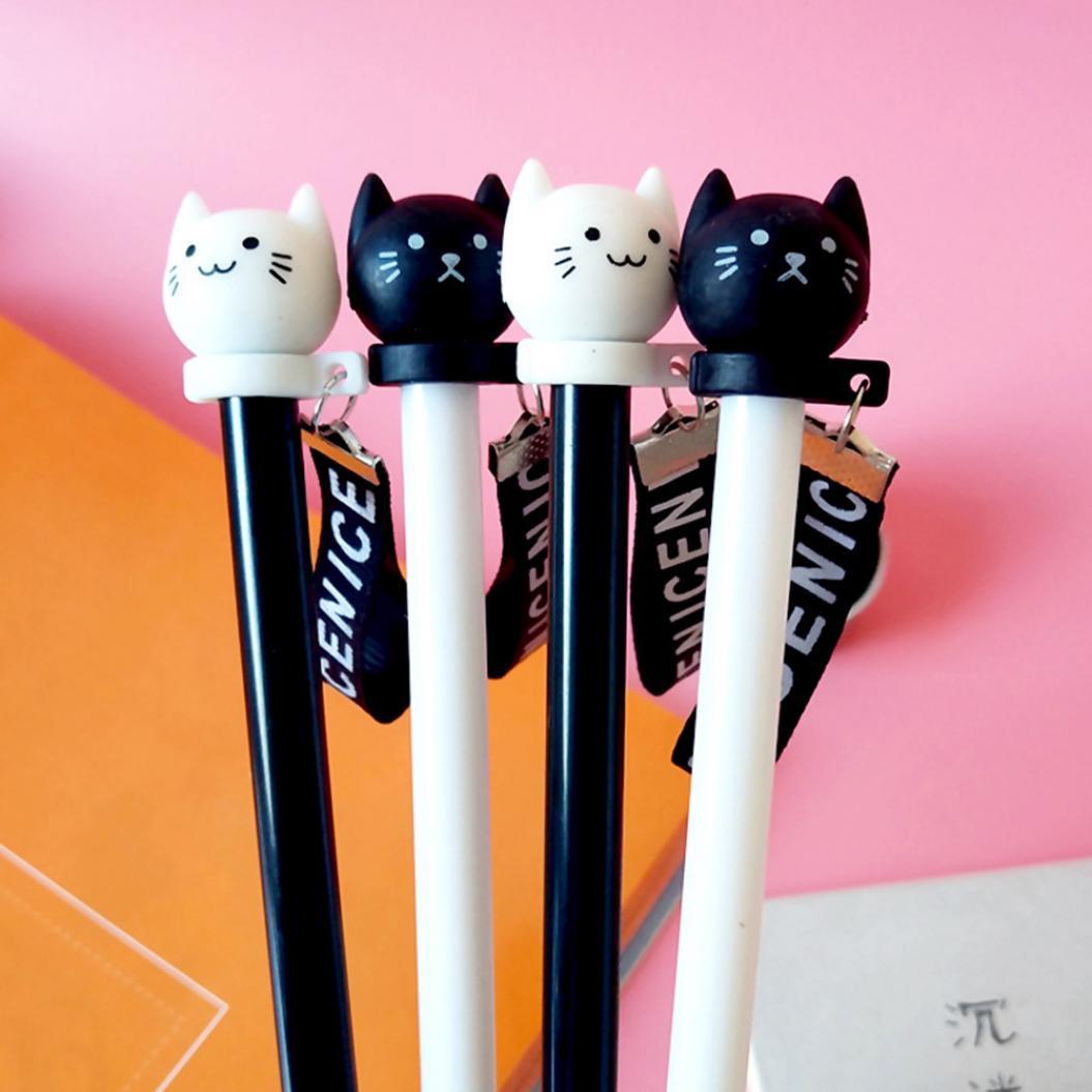 Cute Cat Ribbon 0.5mm Ballpoint Refill Gel Pen School Office Writing Stationery