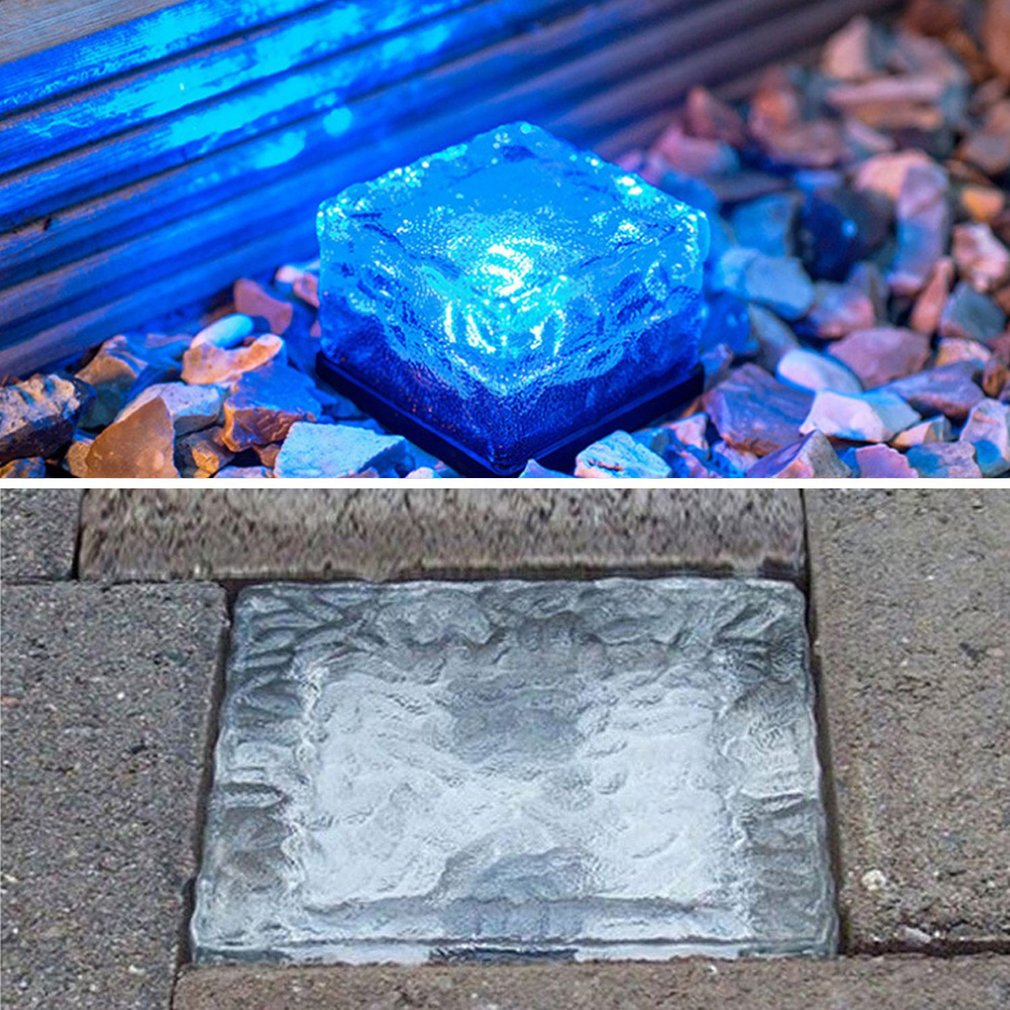 Waterproof Solar Powered LED Rock Light Cube Brick Garden Decorative Light
