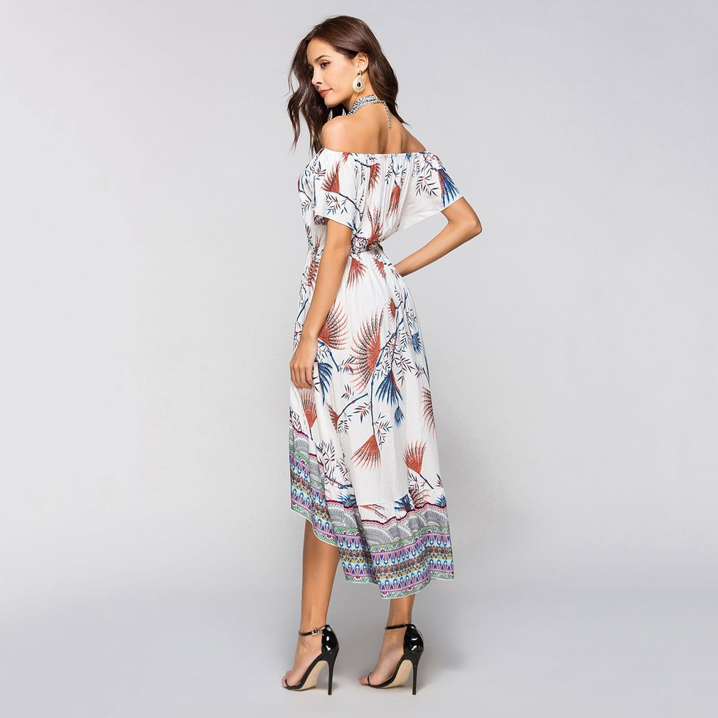 Spring Summer Women Long Dress Trendy Design Sexy Ladies Floral Printed Off Shoulder Short Sleeve Female Beach Dress