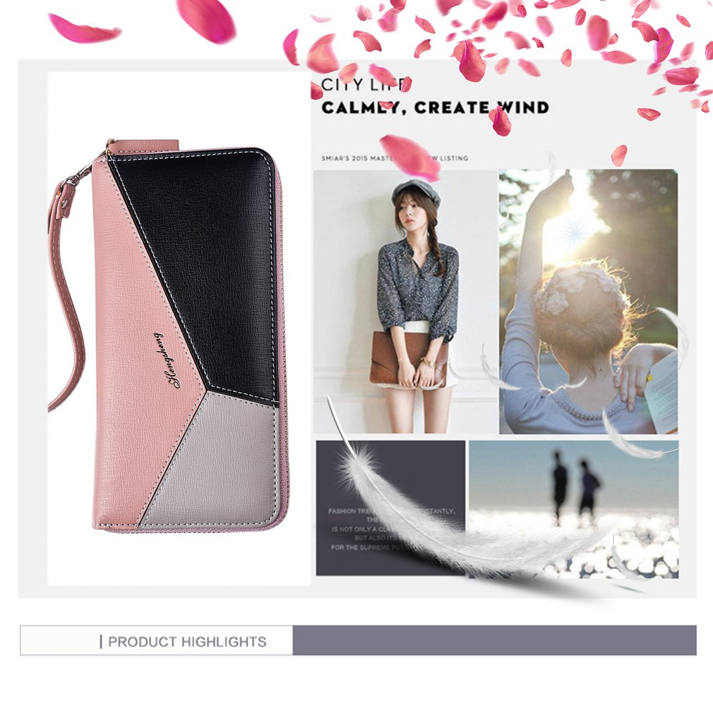 Korean Fashionable Women Long Wallet Stitching Color Credit Card Holder Wallet