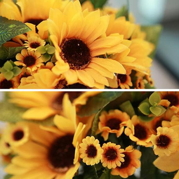 7 Heads Fake Sunflower Artificial Silk Flower Bouquet Home Wedding Floral Decor