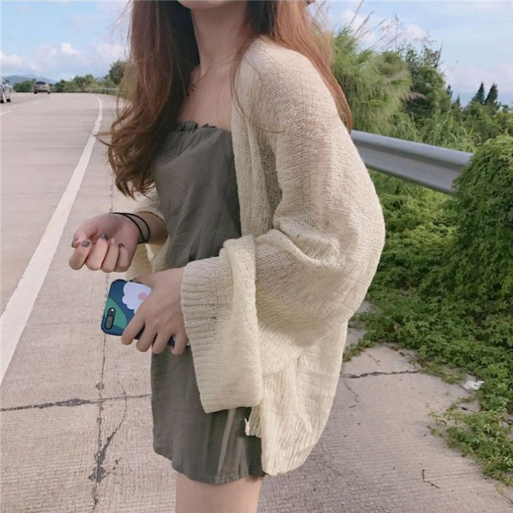 Vintage Chic Wind Style Women Knitted Cardigan Long Sleeve Sunscreen Coats