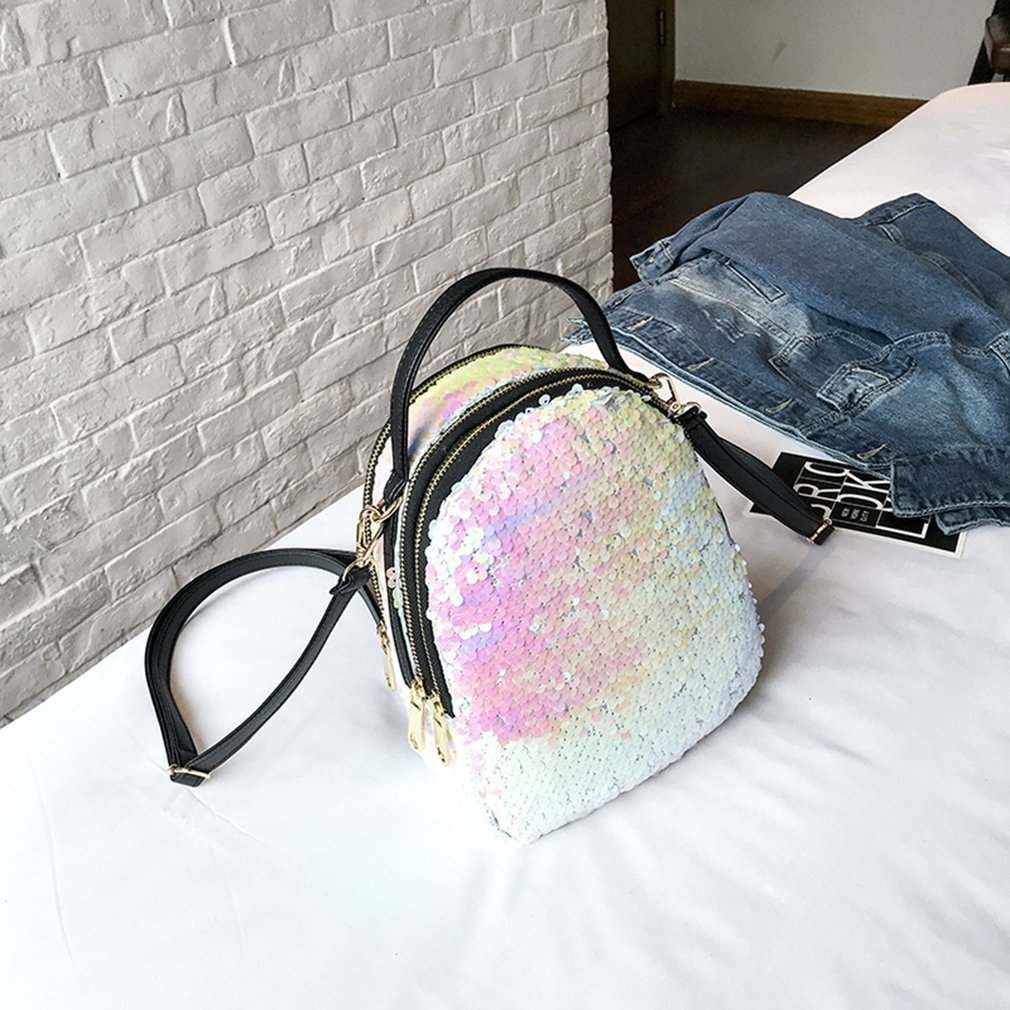 Bling-bling Sequins Backpack Fashion Women Large Capacity Travel Outdoor Shopping Backpack Ultralight Teenagers Shoulder Bag