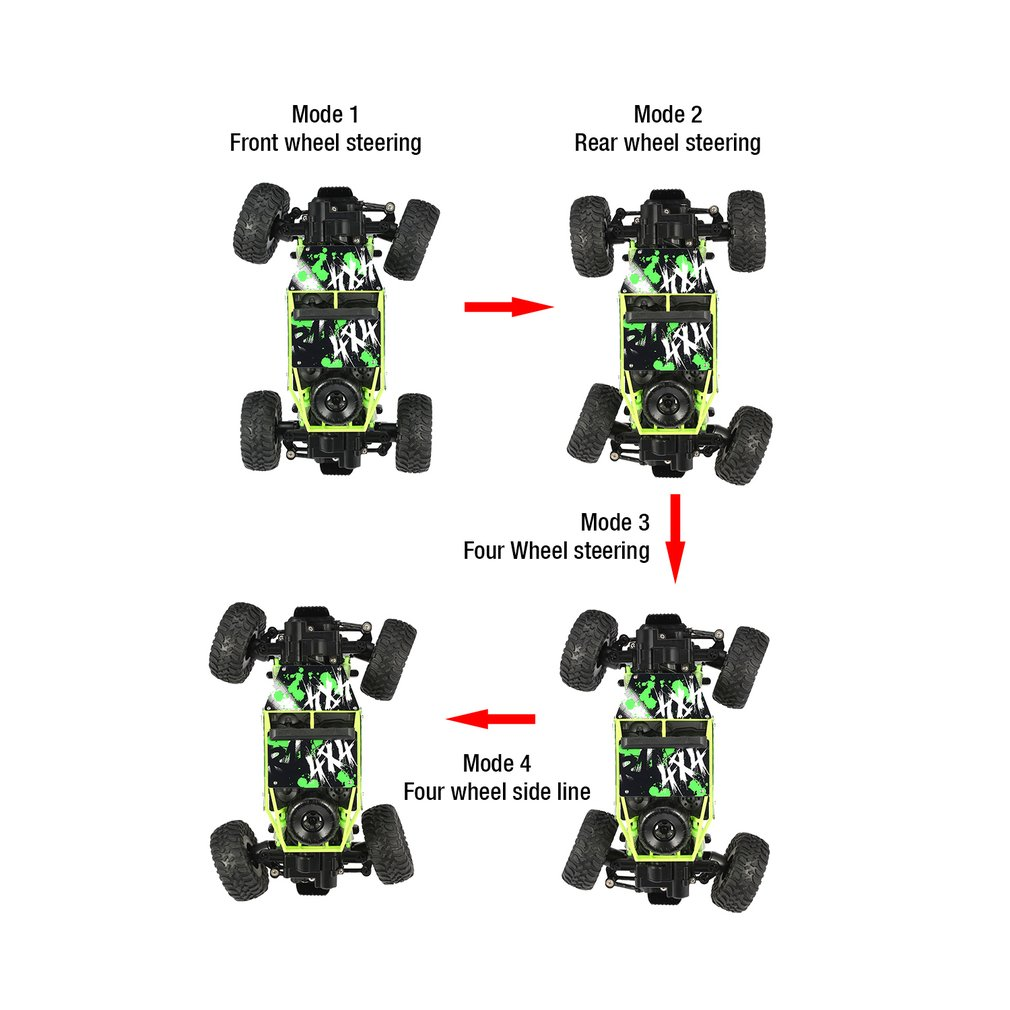 YY300 2.4GHz 1/18 Scale 20km/h Double Motors 4WD Bigfoot Rock Crawler Climbing RC Car Off-Road Vehicle Toy